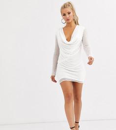 Платье с длинными рукавами, глубоким свободным вырезом и жемчужной отделкой Starlet-Белый