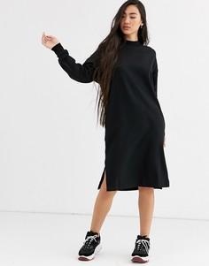 Черное трикотажное платье миди Monki-Черный