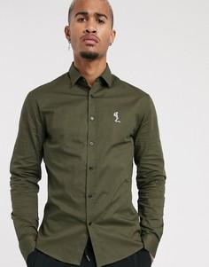 Обтягивающая поплиновая рубашка цвета хаки Religion-Зеленый