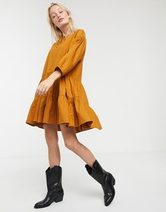 Светло-коричневое платье с завязкой Monki-Светло-коричневый