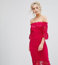 Ажурное платье миди с оборками на рукавах Paper Dolls Petite-Розовый