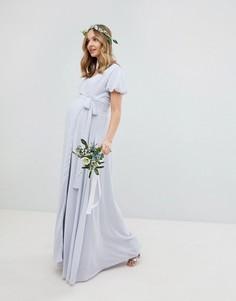 Платье макси с запахом, поясом и пышными рукавами TFNC Maternity-Серый