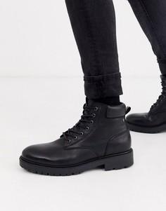 Черные кожаные ботинки на толстой подошве со шнуровкой Jack & Jones-Черный