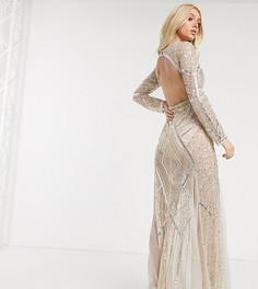Прозрачное платье макси с глубоким V-образным вырезом и годе Starlet-Бежевый