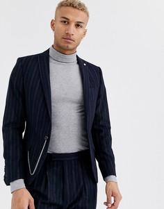 Супероблегающий пиджак в полоску Twisted Tailor-Темно-синий