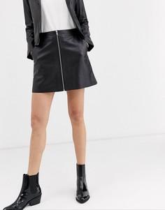 Кожаная юбка-трапеция с молнией Muubaa-Черный