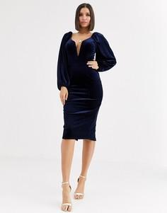 Бархатное облегающее платье миди с глубоким вырезом на косточках и пышными рукавами ASOS DESIGN-Темно-синий