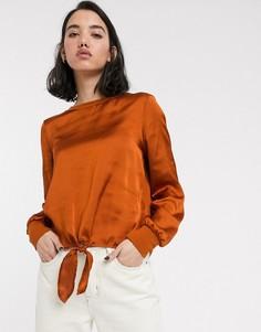Атласная блузка с длинными рукавами и завязкой спереди Only-Оранжевый