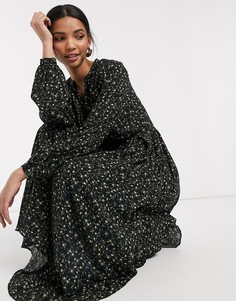 Черное платье миди с V-образным вырезом и цветочным принтом Y.A.S-Мульти
