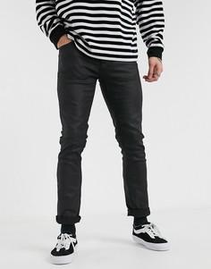 Черные узкие джинсы с покрытием Nudie Jeans-Черный