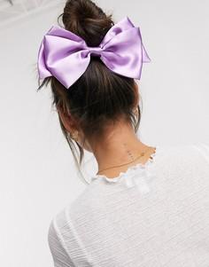 Заколка для волос с атласным бантом лавандового цвета ASOS DESIGN-Фиолетовый