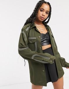 Свободная куртка в стиле милитари со стразами Milk It vintage-Зеленый