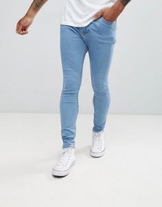 Голубые супероблегающие джинсы Bershka-Синий