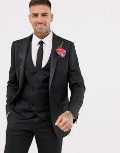 Черный свадебный классический пиджак-смокинг приталенного кроя River Island