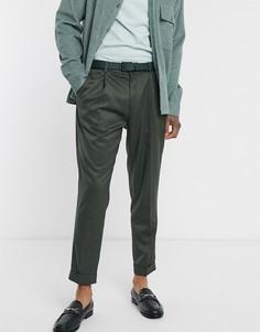 Зеленые строгие брюки скинни Topman-Зеленый