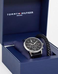 Подарочный набор из часов с кожаным ремешком и браслета Tommy Hilfiger-Черный