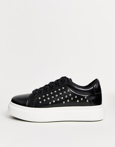 Черные кроссовки на шнуровке с заклепками ASOS DESIGN-Черный