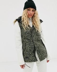 Утепленная куртка цвета хаки с леопардовым принтом Volcom-Серый