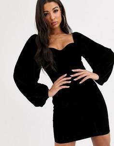 Бархатное платье мини с вырезом сердечком и чашечками ASOS DESIGN-Черный