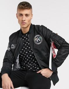Нейлоновая двусторонняя куртка‑авиатор в стиле MA-1 от Alpha Industries-Черный