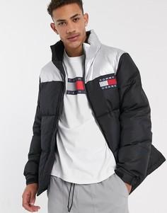 Черная дутая куртка со вставкой металлик Tommy Jeans-Черный