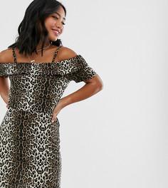 Платье с открытыми плечами и леопардовым принтом Vero Moda Petite-Мульти