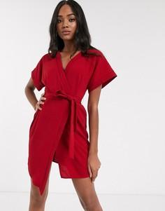 Платье мини с запахом ASOS DESIGN-Красный