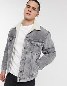 Свободная джинсовая куртка серого цвета на подкладке из искусственной цигейки Levis vintage-Серый