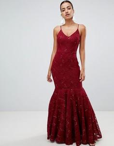 Кружевное платье макси на бретельках с отделкой пайетками Club L-Красный