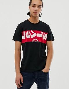 Черная футболка с логотипом на груди Levis-Черный