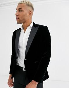 Черный бархатный пиджак-смокинг с острыми лацканами Only & Sons-Зеленый
