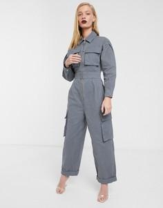 Комбинезон с карманами в стиле милитари ASOS WHITE-Синий