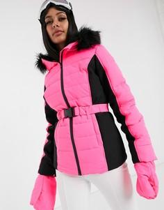 Розовая горнолыжная куртка с поясом и искусственным мехом Missguided-Розовый