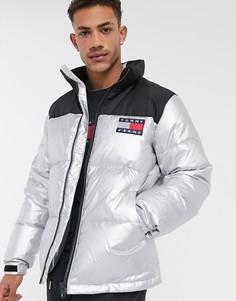 Дутая куртка металлик с черной вставкой Tommy Jeans-Серебряный