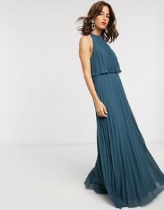 Плиссированное платье макси с халтером и завязкой ASOS DESIGN-Зеленый