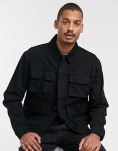 Черная джинсовая куртка с карманами в стиле милитари ASOS DESIGN-Черный