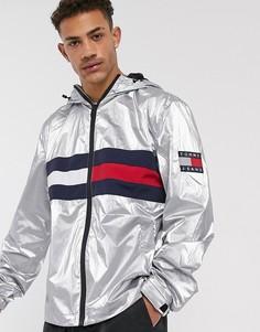 Куртка с капюшоном с эффектом металлик Tommy Jeans-Серебряный