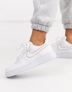Бело-золотистые кроссовки Nike Air Force 1 07-Белый