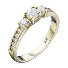Кольцо из желтого золота с бриллиантами э03к021635 ЭПЛ Якутские Бриллианты