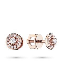 Пусеты из красного золота с бриллиантами п02с091726 ЭПЛ Якутские Бриллианты