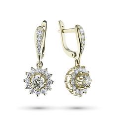 Серьги из желтого золота с бриллиантами э03с071842 ЭПЛ Якутские Бриллианты