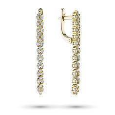 Серьги из желтого золота с бриллиантом э03с031866 ЭПЛ Якутские Бриллианты