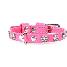 Ошейник CoLLaR Glamour с клеевыми стразами цветочек ширина 12мм длина 21-29см розовый для собак (32697)