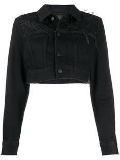 Diesel декорированная укороченная джинсовая куртка