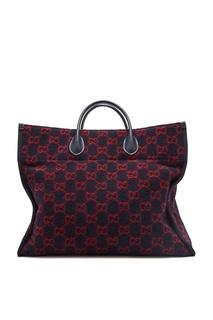Шерстяная сумка тоут с узором GG Gucci