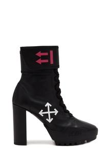 Черные кожаные ботинки на шнуровке Off White