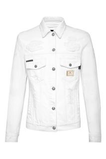 Белая куртка из денима Philipp Plein