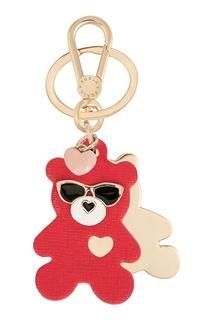 Золотистый брелок Venus с красным медведем Furla