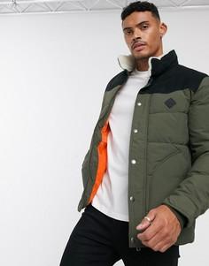 Зеленая дутая куртка с искусственным мехом Jack & Jones Originals-Зеленый