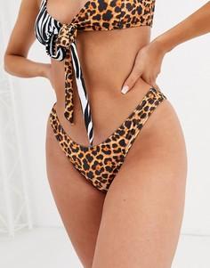 Трусы бикини с завышенной талией, звериным принтом и завязками Luxe Palm-Мульти